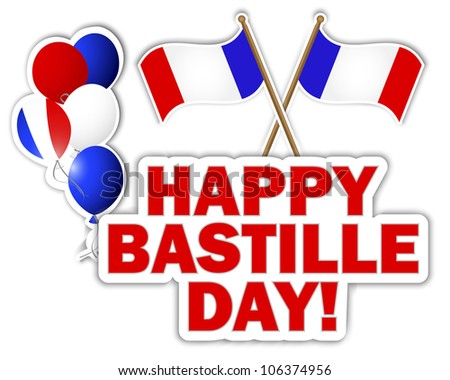 Bastille Day stickers with flags and balloons. Raster version.