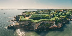 Bastions of finnish fortress Suomenlinna (or sweeden name Sveaborg) at the coast of Baltic sea in Helsinki, Finland