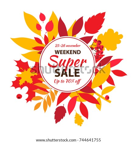 BaSuper autumn sale inscription design template. Up to 50 off. Autumn fall leaves and berries. Big autumn sale banner, poster, flyer. Vector illustration. Flat design style.sic RGB Foto stock ©