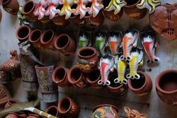 Bat Trang Traditional Vietnamese Pottery Shop Displayed on Wall