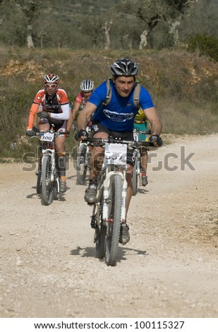 BATALHA, PORTUGAL - MARCH 25:  357 - Martino Montez of the POR participates in the event of the Marathon Mountain Bike Centre on the Batalha on March 25, 2012 in Batalha, Portugal.