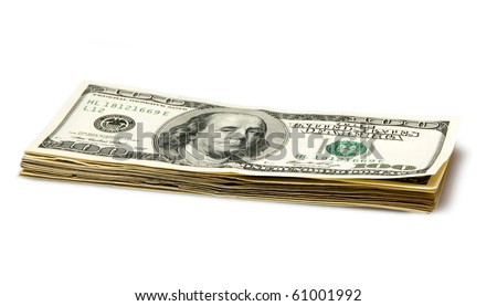 batch of dollars isolated on white