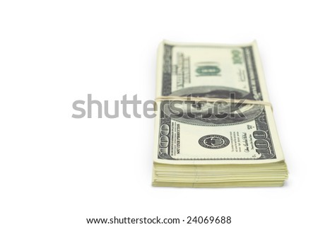 batch of false 100 dollar bills tied with rubber band against white background and copy space on the left