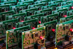 Batch of Produced Automotive Printed Circuit Boards with Surface Mounted Components