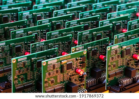 Batch of Produced Automotive Printed Circuit Boards with Surface Mounted Components Сток-фото ©