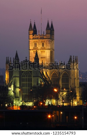 Bath Abbey in the City of Bath in the county of Somerset in southwest England. The historic center is a UNESCO World Heritage Site. #1235154793