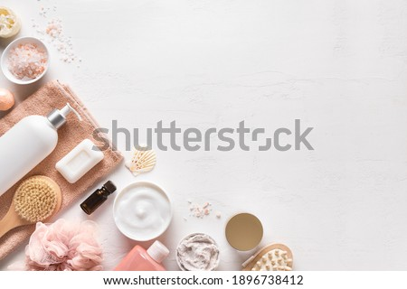 Bath and Skin Care Accessories on white background, top view, copy space. Daily natural organic bodycare concept, organic bath products. Stock foto ©