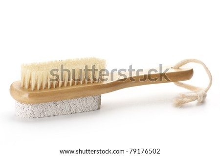 Bath brush with bristle and pumice isolated on white background.