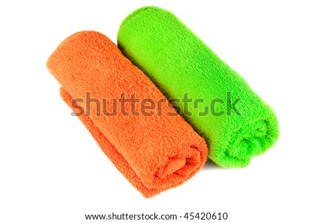 Bath colorful towels. Rolled. Isolated over white