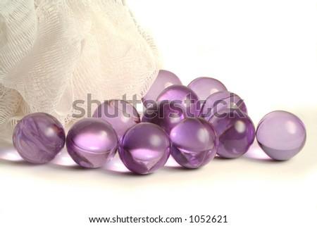 bath pearls and sponge