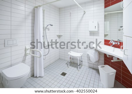 bath room of a hospital ward empty with toilet and shower Stock foto ©