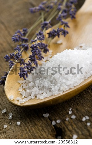 bath salt in a wooden spoon with lavender - stock photo