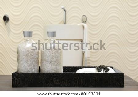 Bath salt in the design bathroom container.