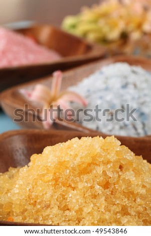 Bath salt in wooden bowls - stock photo