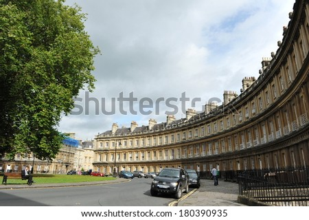 BATH - SEPT 28: View of the Circus terraced houses designed mid 18th century by architect John Wood the Elder on Sept 28, 2012 in Bath, UK. The Circus consists of luxury terraced Georgian town houses.
