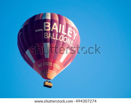 BATH, SOMERSET/UK - OCTOBER 02 : Hot Air Balloon Flying over Bath Somerset on October 02, 2016. Unidentified people #494307274