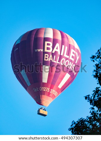BATH, SOMERSET/UK - OCTOBER 02 : Hot Air Balloon Flying over Bath Somerset on October 02, 2016.Unidentified people #494307307
