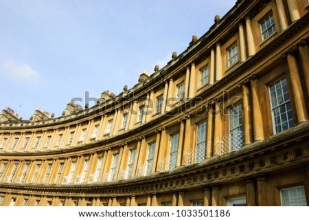 Bath (Somerset, UK). View of the Royal Circus buildings facade, a preeminent example of Georgian architecture.