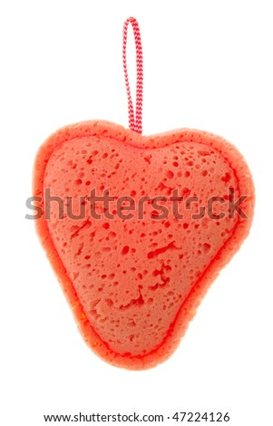 Bath sponge in the form  heart on isolated