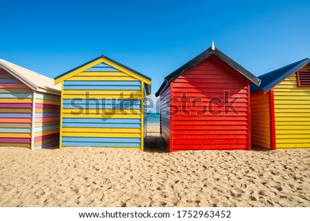 Bathing boxes on Dendy Street Beach, Brighton beach of Melbourne town of Australia. Brighton Beach is famous for its strip of rainbow-coloured bathing boxes.