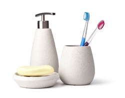 bathroom accessories on white background