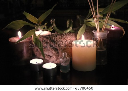 Bathroom composition in the candle light - stock photo