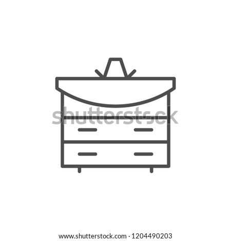 Bathroom furniture line icon isolated on white