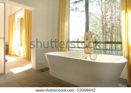 bathroom in rural house - stock photo