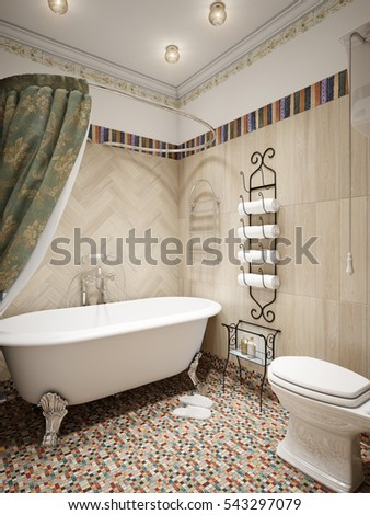 bathroom in rustic style of...
