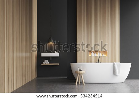 Bathroom interior bathtub 3d rendering mock up