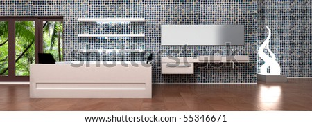 Bathroom interior design wall. Bath tube and sink for 2 persons, mirror, creative lamp, empty white shelves, modern blue mosaic tile. 3d rendering.