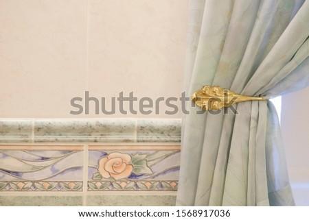 Bathroom interior silk curtain blind brass stay holder pastel green #1568917036