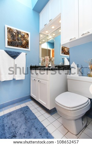 Bathroom interior with blue walls and white cabinets.