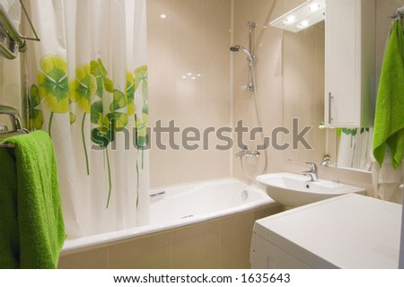 Bathroom interior with green accent
