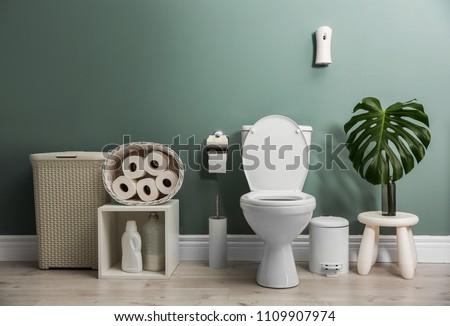 Bathroom interior with new ceramic toilet bowl #1109907974