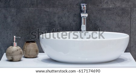 Bathroom interior with stylish white sink - Shutterstock ID 617174690