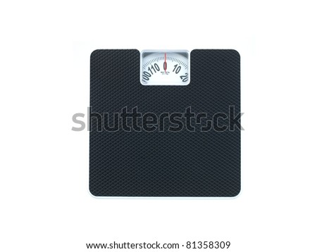 Bathroom scales isolated against a white background