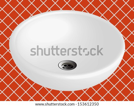 bathroom sink against orange ceramic tiles background, abstract art illustration