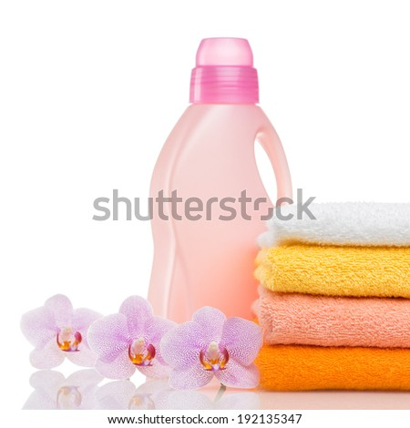 Bathroom towels and household goods on a white background