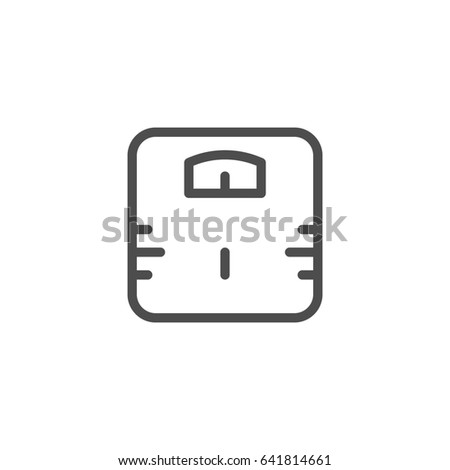 Bathroom weight scale line icon isolated on white