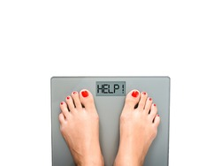 Bathroom weight scale with help text in white background