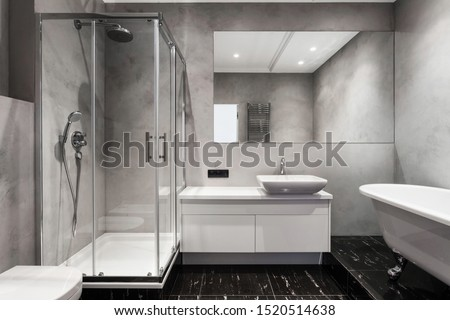 Bathroom with basin, shower cabin, large mirror and chrome silver heater or towel radiator at grey wall. Loft style in new apartment. Modern house with contemporary interior