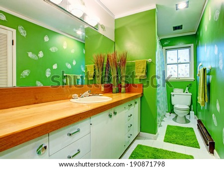 Bathroom with bright green walls, tile floor and green soft rugs