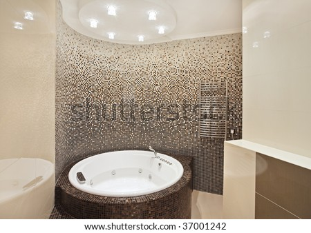 Bathroom With Jacuzzi And Mosaic On Wide Angle View Stock Photo ...