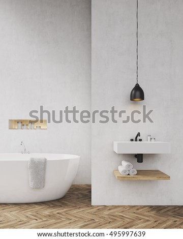 Bathroom with light gray walls, bathtub, sink and towel shelf. Concept of luxury interior. Toned image. Mock up. 3d rendering