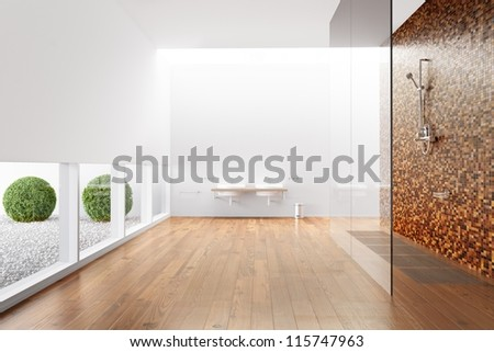 Bathroom with shower and windows and plants - stock photo