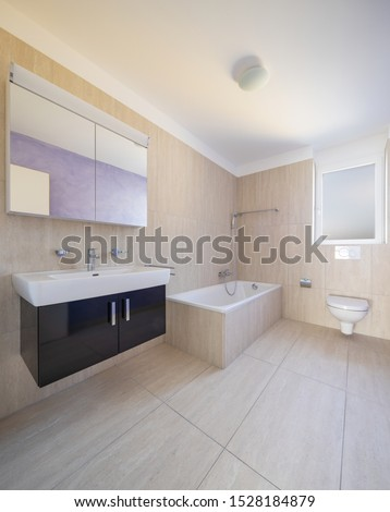 Bathroom with toilet, cabinet with sink and mirror and bathtube. Nobody inside