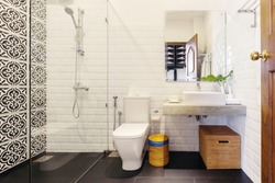 Bathroom with toilet modern hotel interior