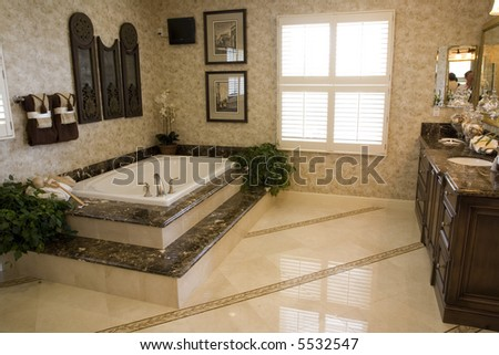 Tilingbathroom Floor on Bathroom With Tub And Tile Floor  Stock Photo 5532547   Shutterstock