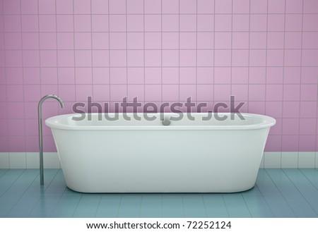 Bathtub in a bathroom. 3D render.